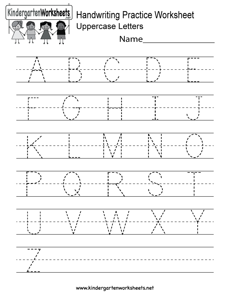 math worksheet : handwriting practice worksheet  free kindergarten english  : Kindergarten Worksheet