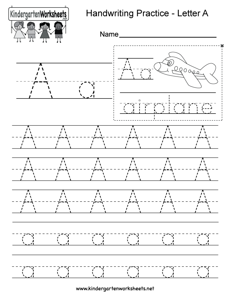 Free Writing Printable Kindergarten Worksheets : Letter a writing practice worksheet free kindergarten