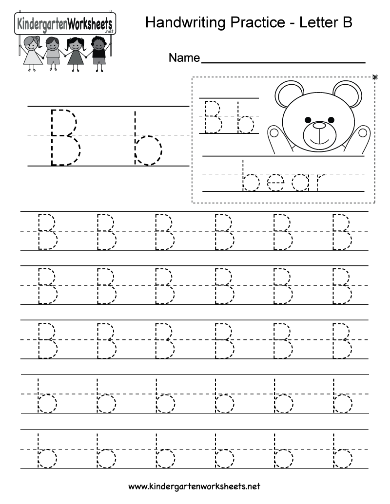 photo relating to Letter B Printable Worksheets referred to as Letter B Producing Teach Worksheet - Free of charge Kindergarten
