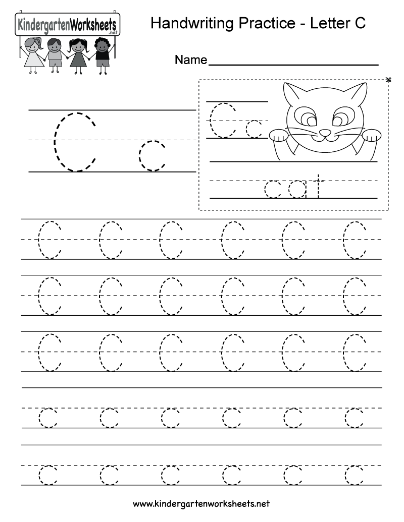 Worksheets Letter C Worksheets For Kindergarten free printable letter c writing practice worksheet for kindergarten printable