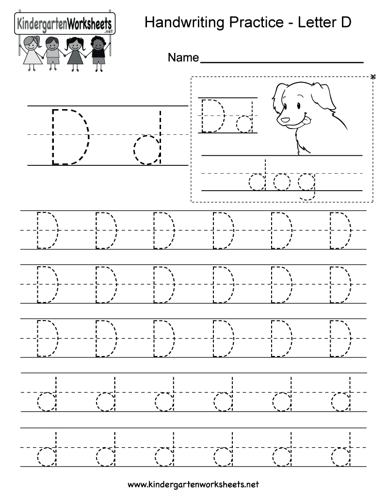 Letter D Writing Practice Worksheet - Free Kindergarten English ...