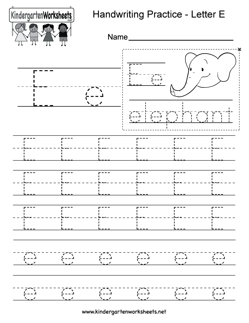 math worksheet : free printable letter e writing practice worksheet for kindergarten : Writing Worksheets For Kindergarten