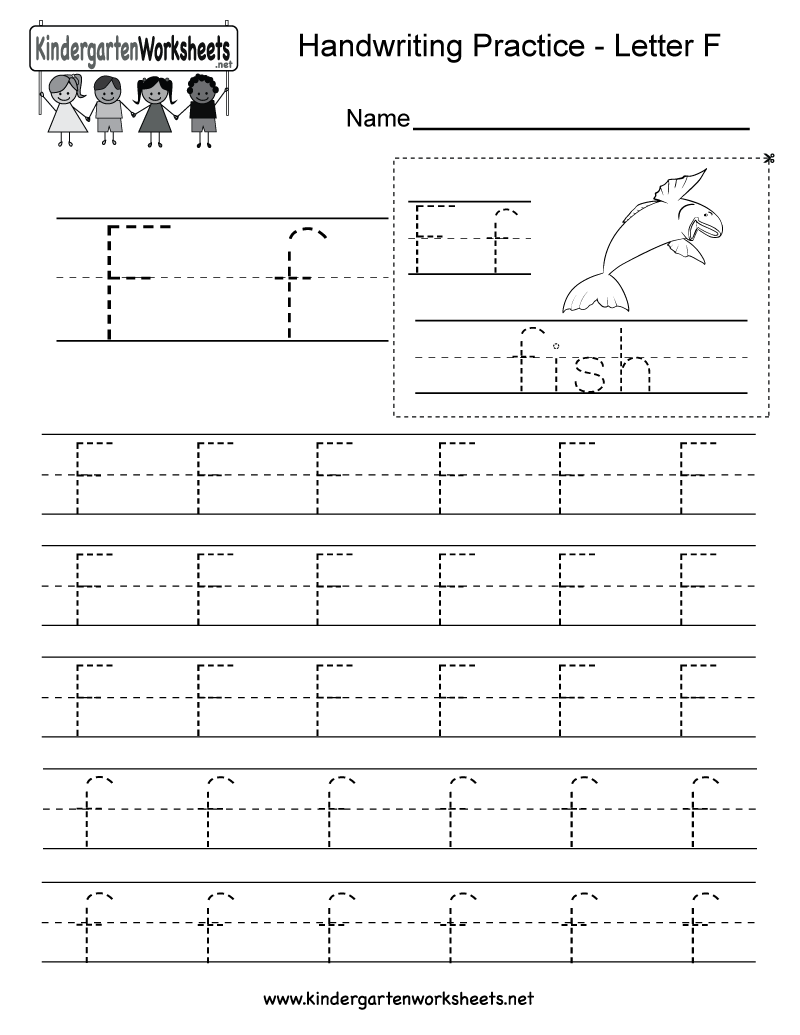 Letter F Writing Practice Worksheet - Free Kindergarten English ...