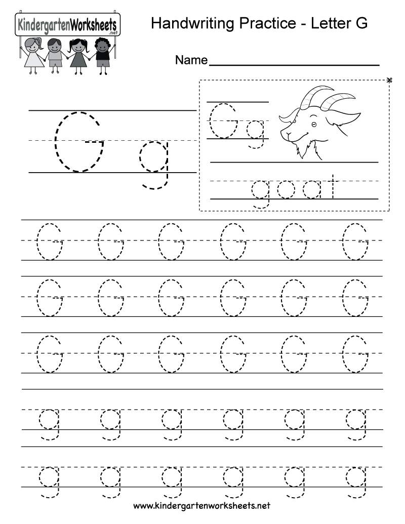 picture about Printable Letter G named Absolutely free Printable Letter G Producing Coach Worksheet for