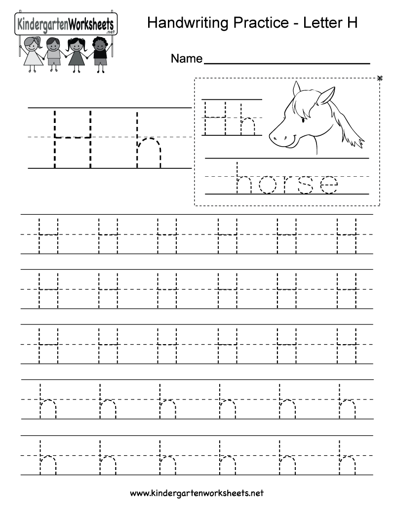 Worksheets Letter H: Letter H Writing Practice Worksheet   Free Kindergarten English    ,