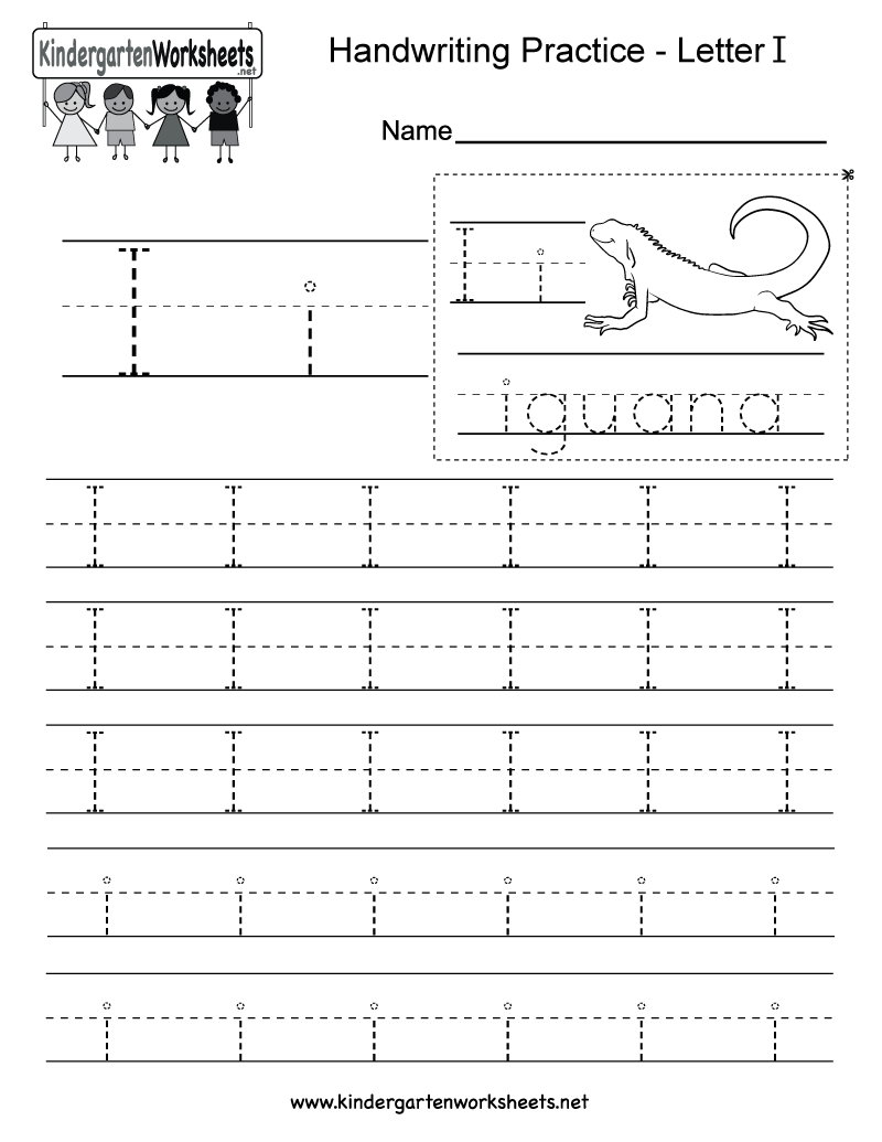 Free Printable Letter I Writing Practice Worksheet for Kindergarten