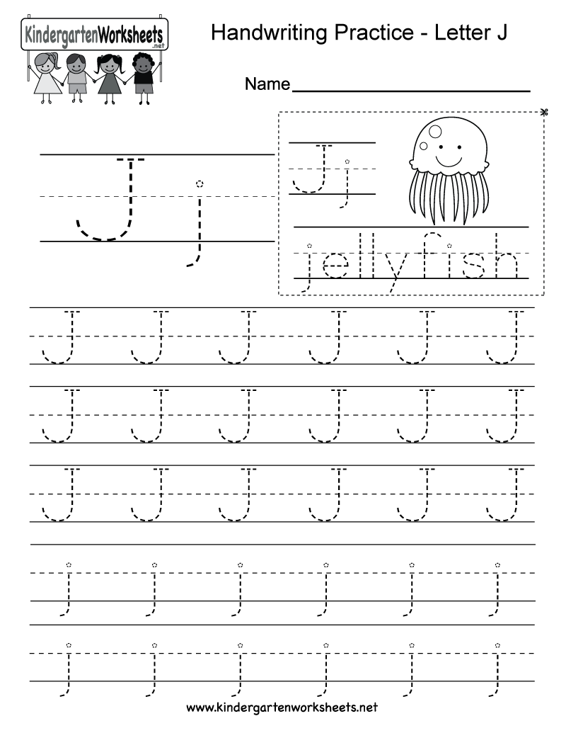 Free Printable Letter J Writing Practice Worksheet for Kindergarten