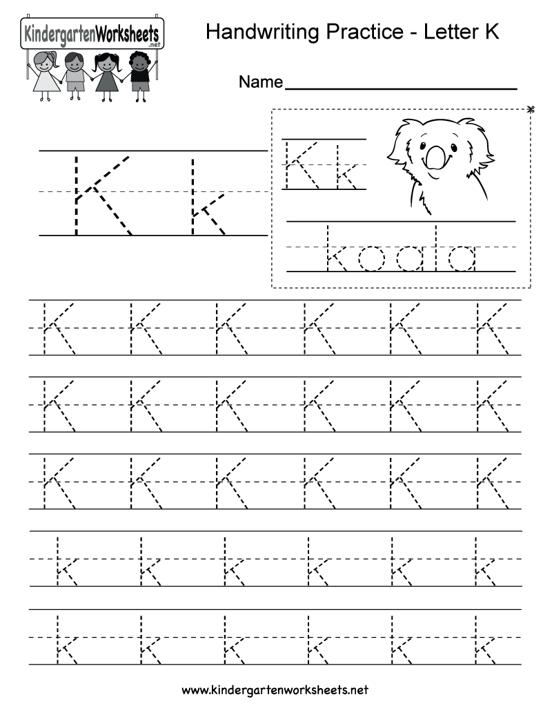 image relating to Letter K Printable called Cost-free Printable Letter K Composing Educate Worksheet for