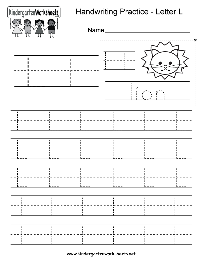 math worksheet : free printable letter l writing practice worksheet for kindergarten : Kindergarten Writing Practice Worksheets