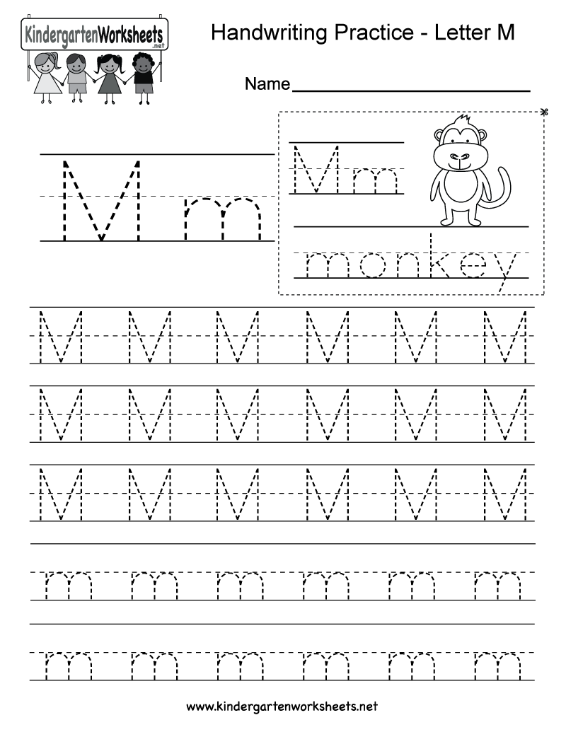 math worksheet : free printable letter m writing practice worksheet for kindergarten : Letter Practice Worksheets For Kindergarten