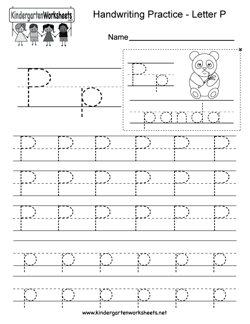P K Math Worksheet : Letter p writing practice worksheet free kindergarten