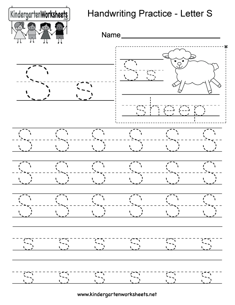 math worksheet : free printable letter s writing practice worksheet for kindergarten : Free Kindergarten Letter Worksheets