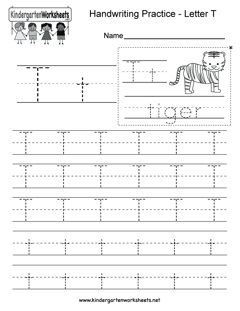 Free Printable Letter T Writing Practice Worksheet for Kindergarten