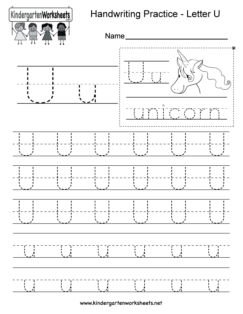 letter u writing practice worksheet free kindergarten english worksheet for kids. Black Bedroom Furniture Sets. Home Design Ideas