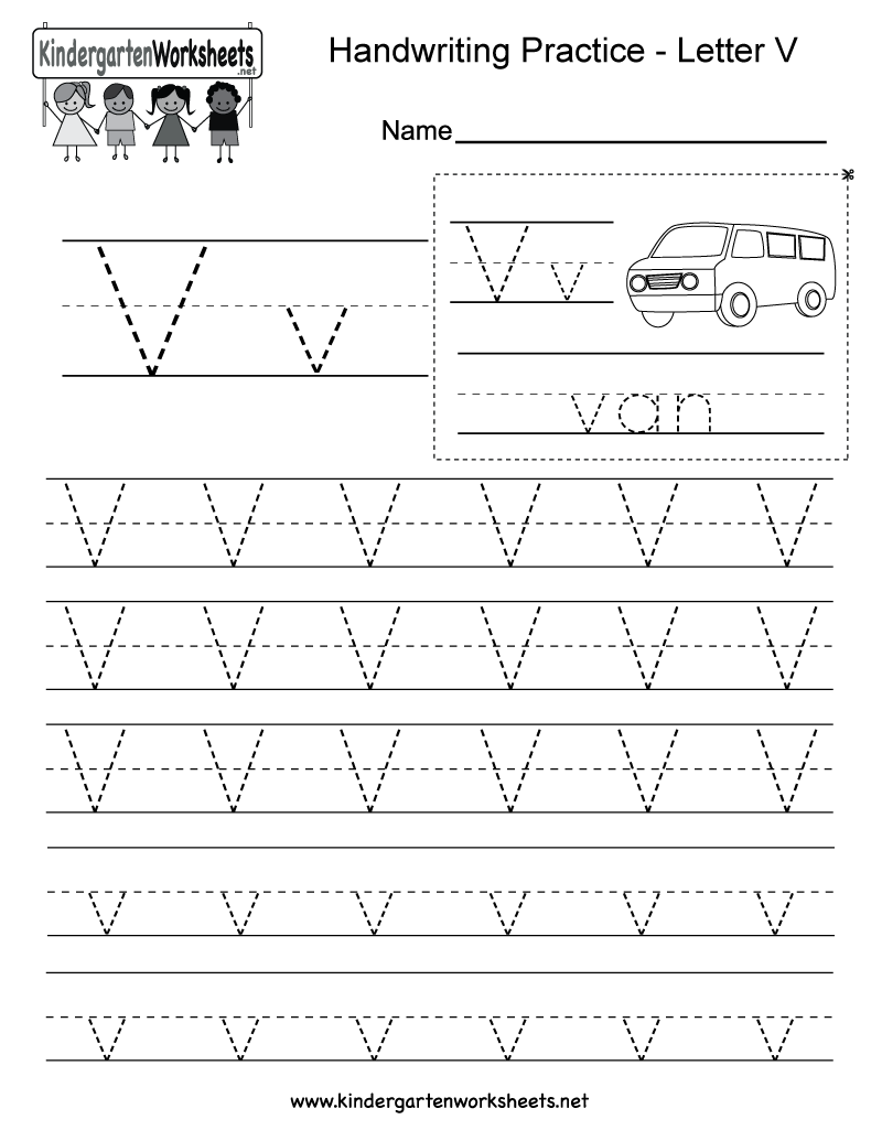 Letter V Writing Practice Worksheet Printable on Kindergarten Worksheet With U