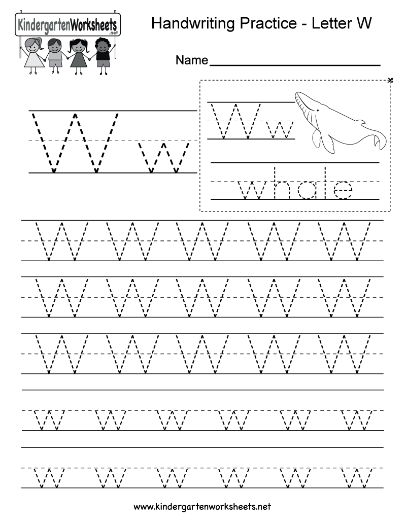 math worksheet : free printable letter w writing practice worksheet for kindergarten : Writing Kindergarten Worksheets