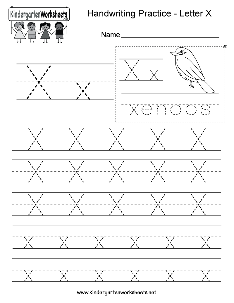math worksheet : free printable letter x writing practice worksheet for kindergarten : Alphabet Writing Practice Worksheets For Kindergarten