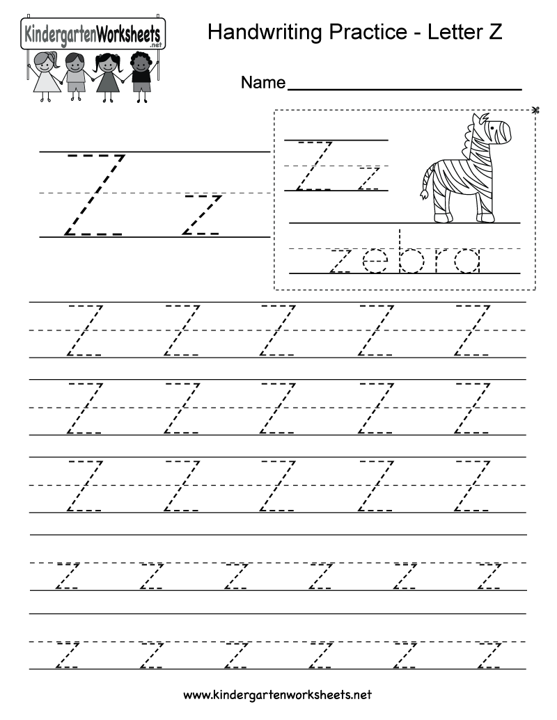 Free Printable Letter Z Writing Practice Worksheet for Kindergarten