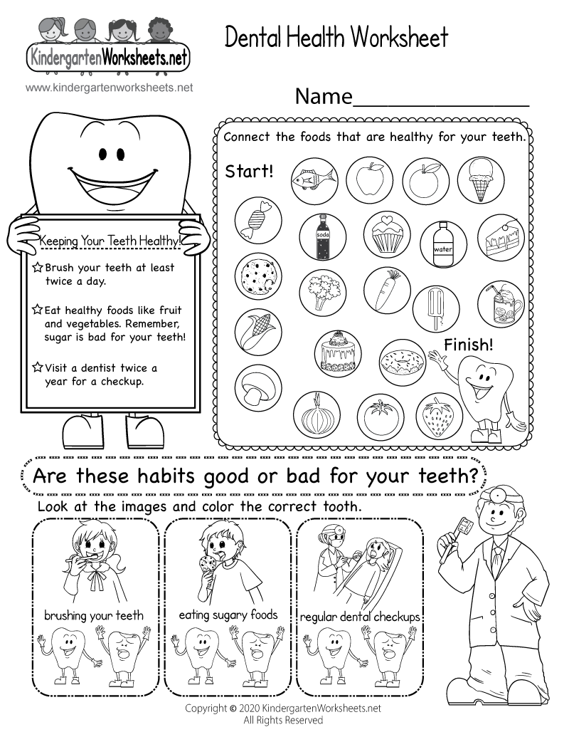 Kindergarten Dental Health Worksheet Printable