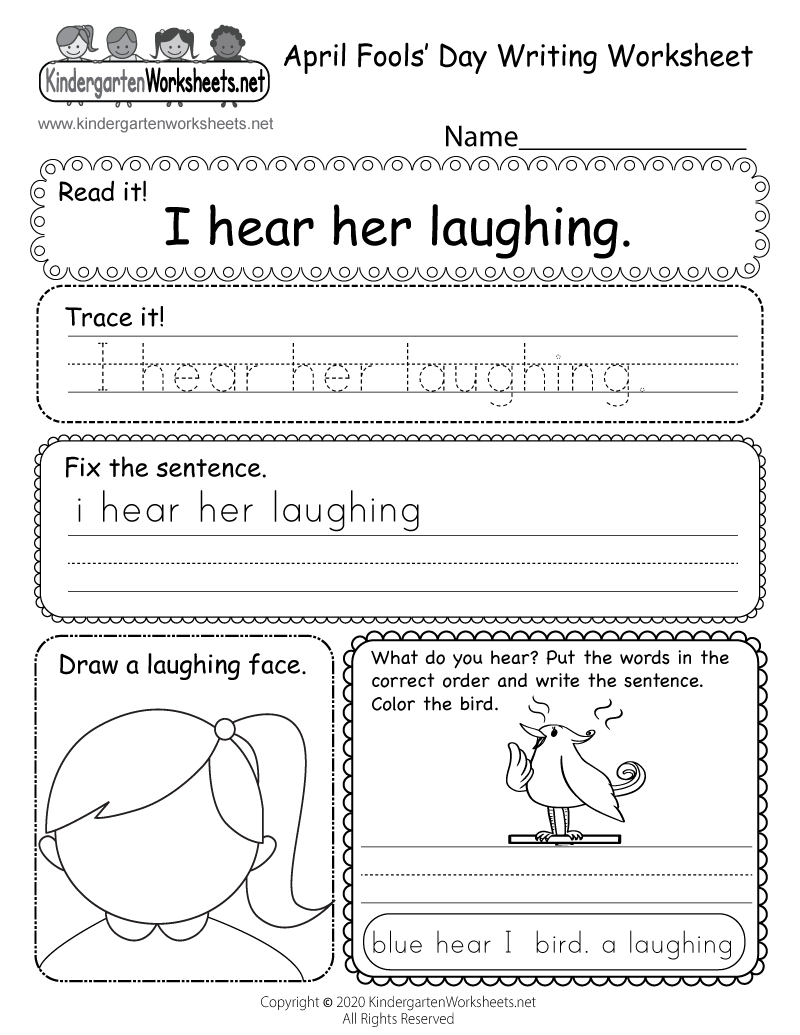 Kindergarten April Fools' Day Writing Worksheet Printable