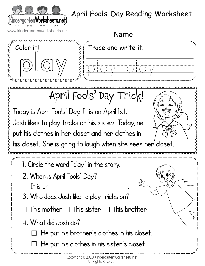 Kindergarten April Fools' Reading Worksheet Printable