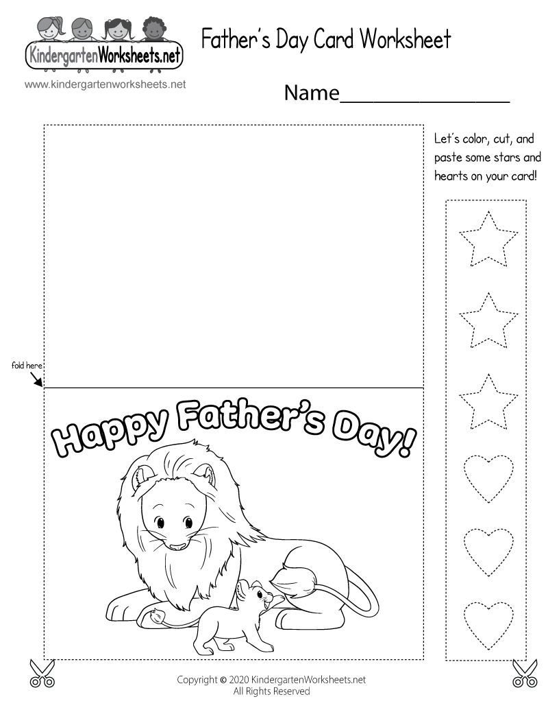 Kindergarten Father's Day Card Worksheet Printable