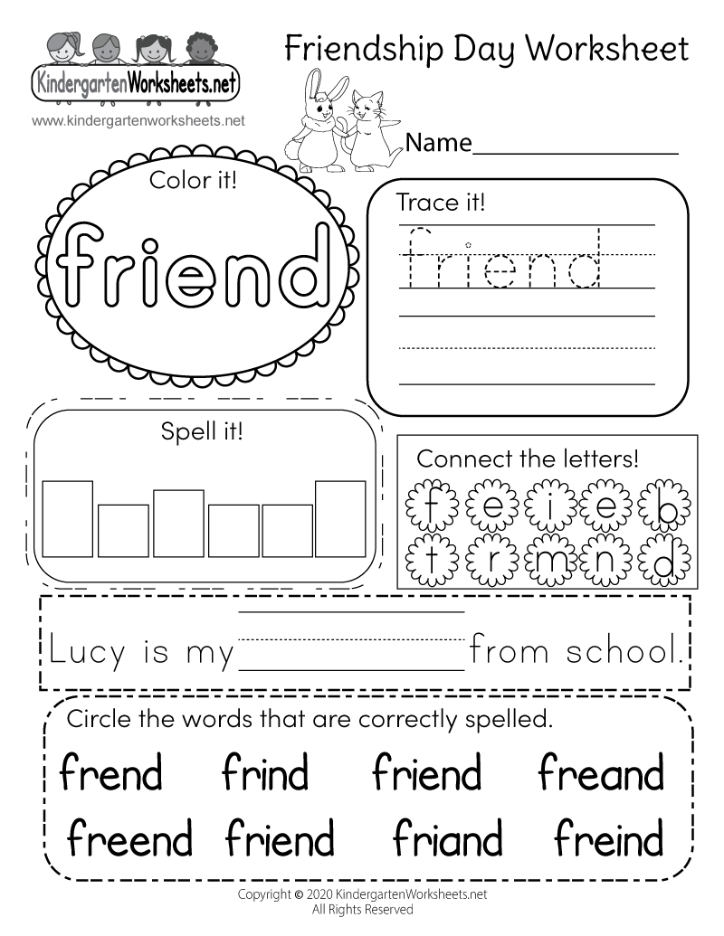 Kindergarten Friendship Day Worksheet Printable