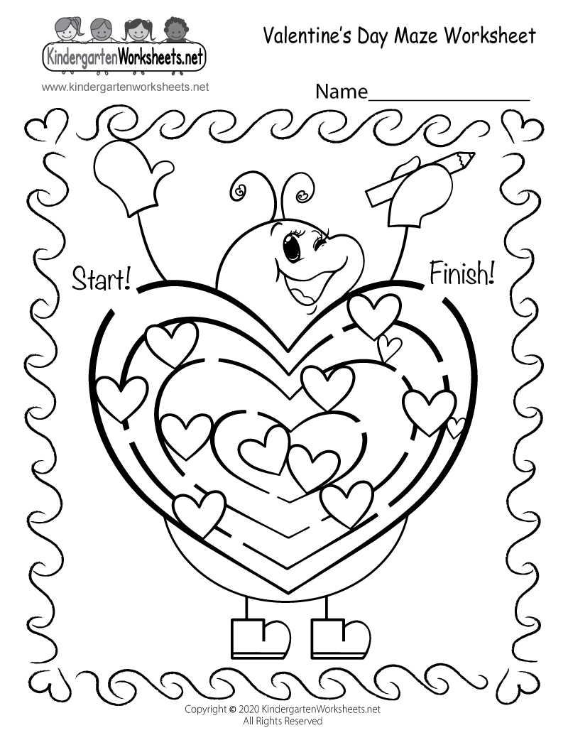 Free Printable Fun Valentine's Day Maze Worksheet for Kindergarten