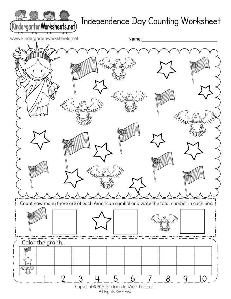 Free Printable Independence Day Counting Worksheet for Kindergarten – Holiday Worksheets Free