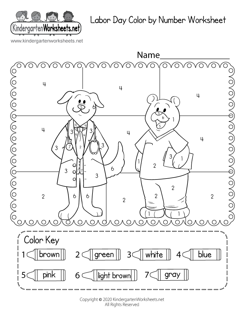 Labor Day Coloring Worksheet - Free Kindergarten Holiday Worksheet ...