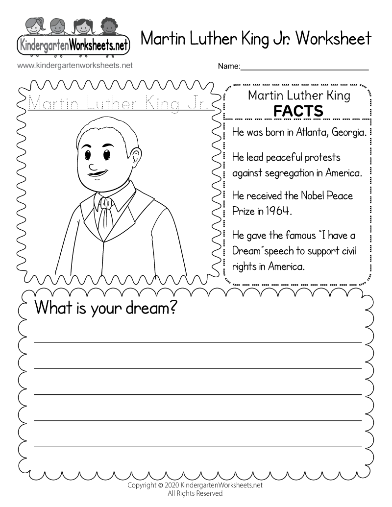 Kindergarten Martin Luther King Coloring Worksheet Printable
