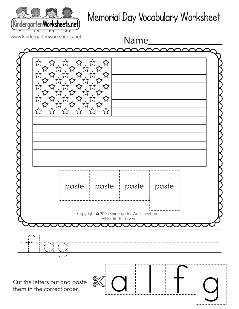 Memorial Day Vocabulary Worksheet Free Kindergarten Holiday