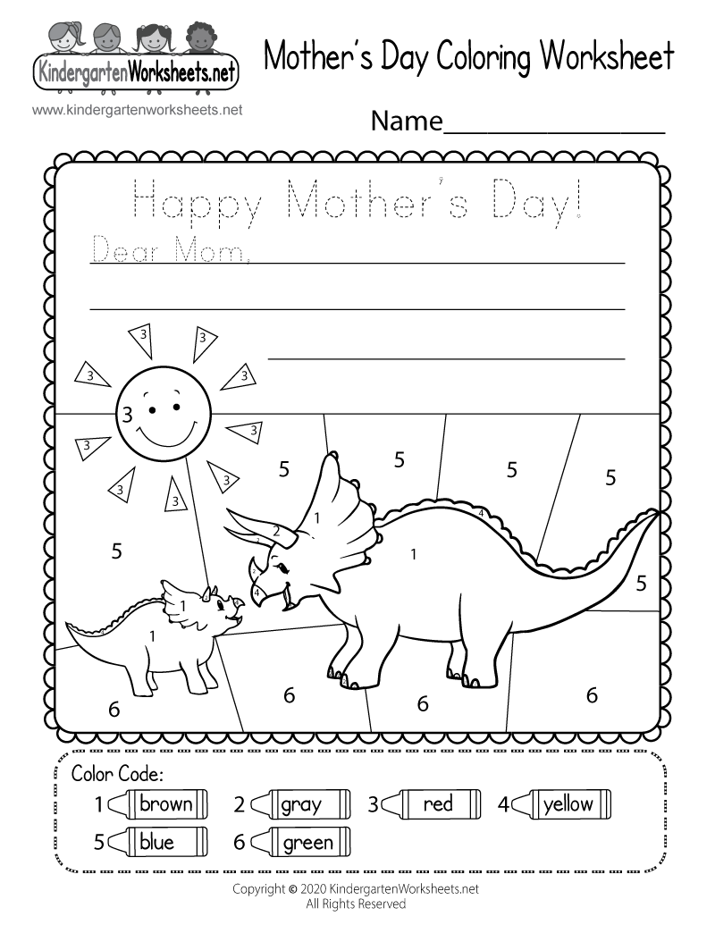 Kindergarten Mother's Day Coloring Worksheet Printable