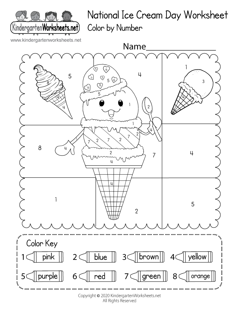 Kindergarten National Ice Cream Day Worksheet Printable