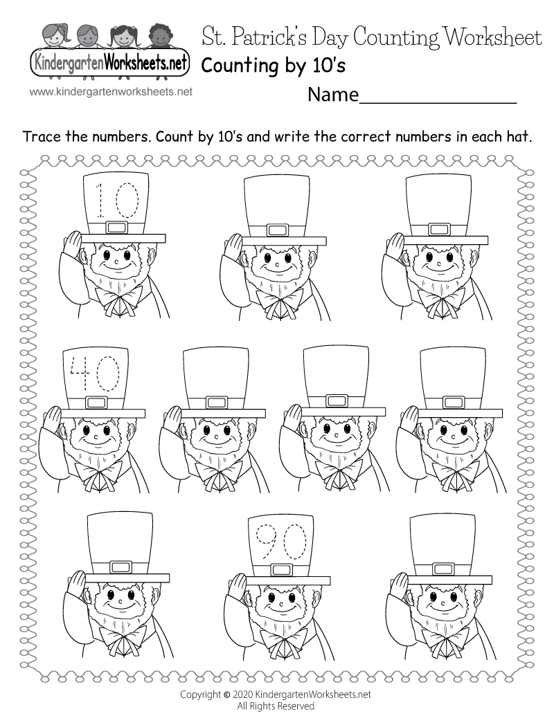photo about St Patrick's Day Worksheets Free Printable called Saint Patricks Working day Counting Worksheet - Free of charge Kindergarten