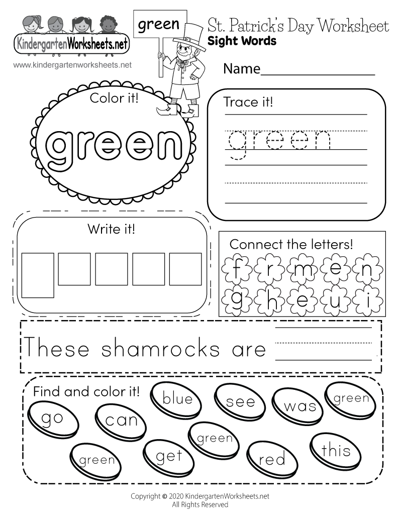Free Printable Saint Patricks Day Worksheet for Kindergarten – St Patricks Day Worksheets