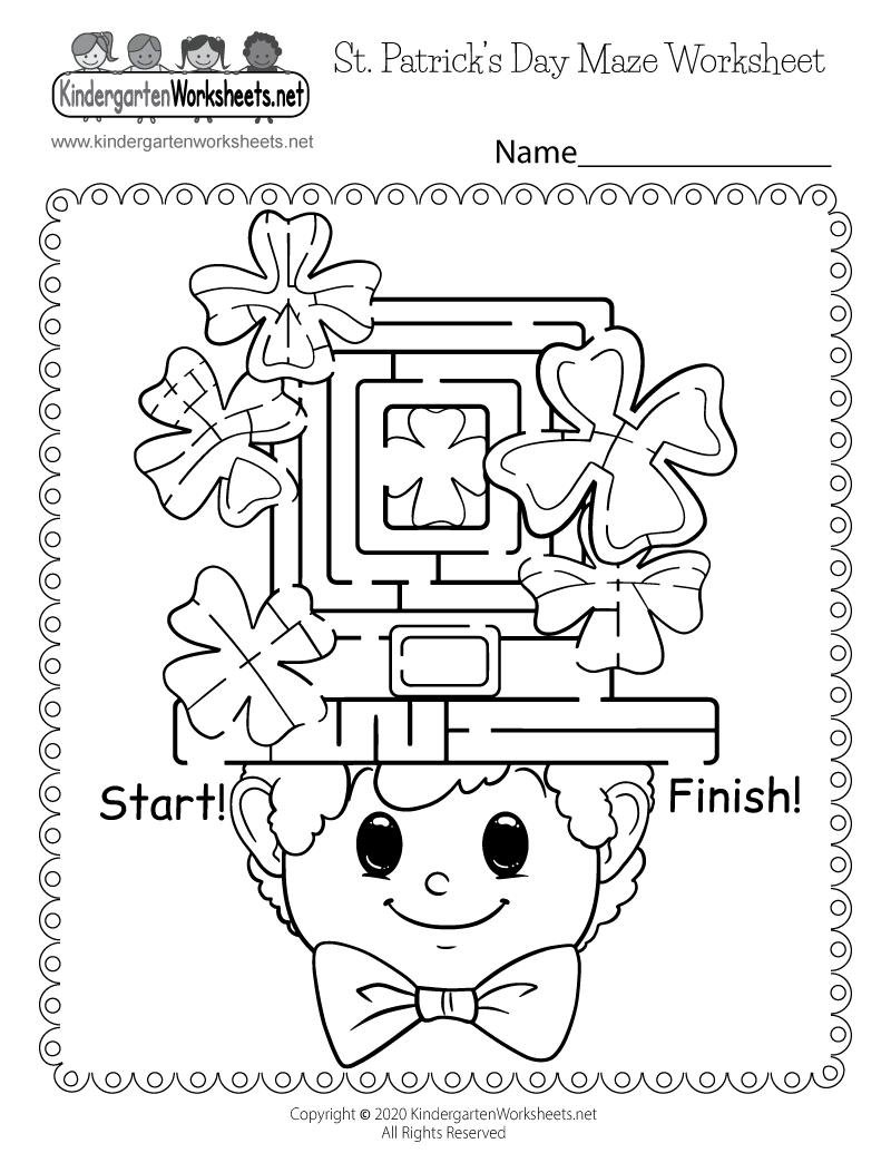 Kindergarten Saint Patrick's Day Maze Worksheet Printable