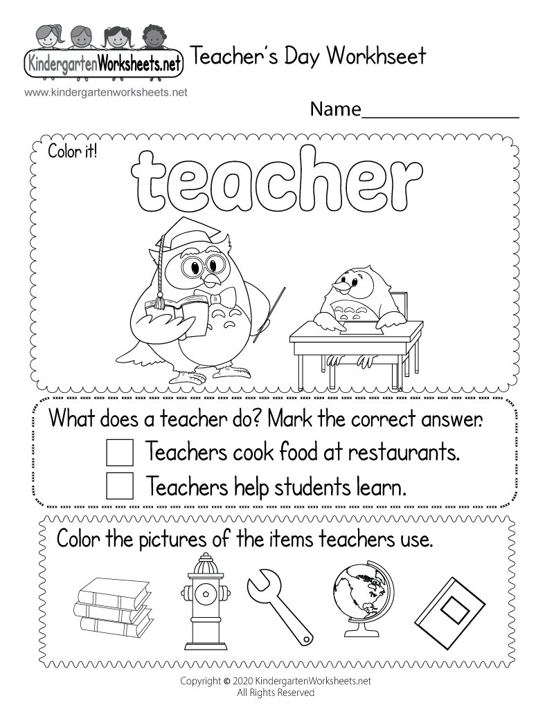 Teacher's Day Coloring Worksheet - Free Kindergarten Holiday ...