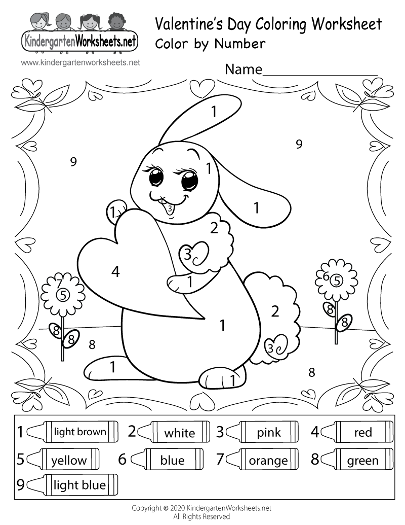 Free Printable Valentine\'s Bunny Coloring Worksheet for Kindergarten