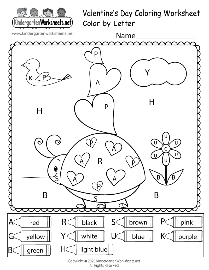 Valentine's Day Color by Letter Worksheet Printable for Kindergarten