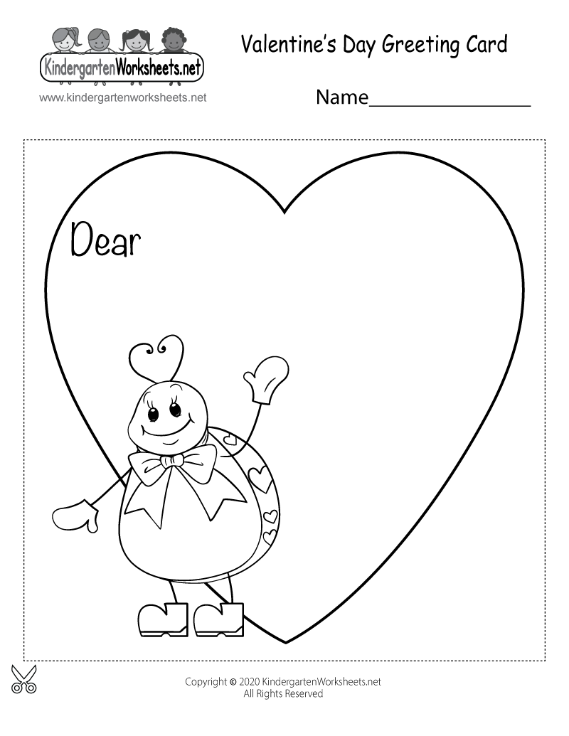 Free Printable Valentine's Day Greeting Card for Kindergarten