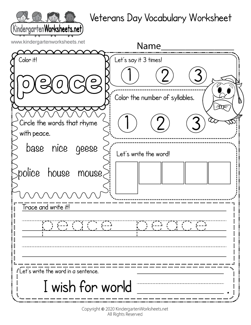 Kindergarten Veteran's Day Vocabulary Worksheet Printable
