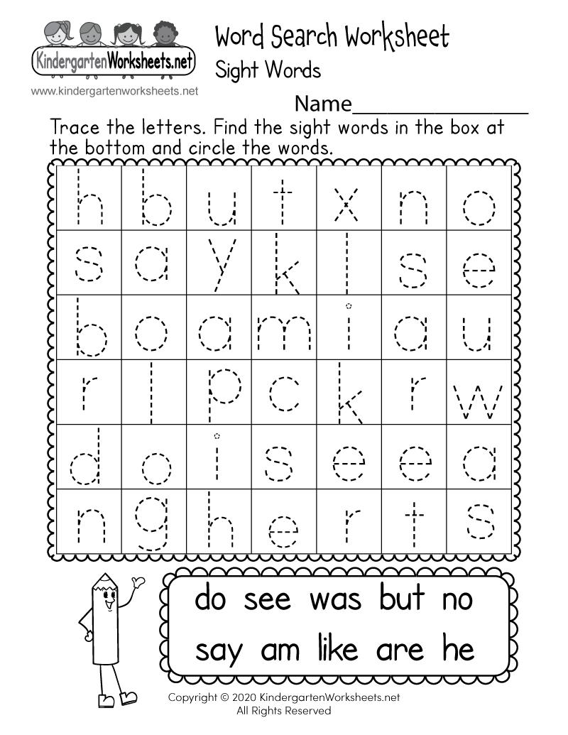 Learning Worksheet For Kindergarten