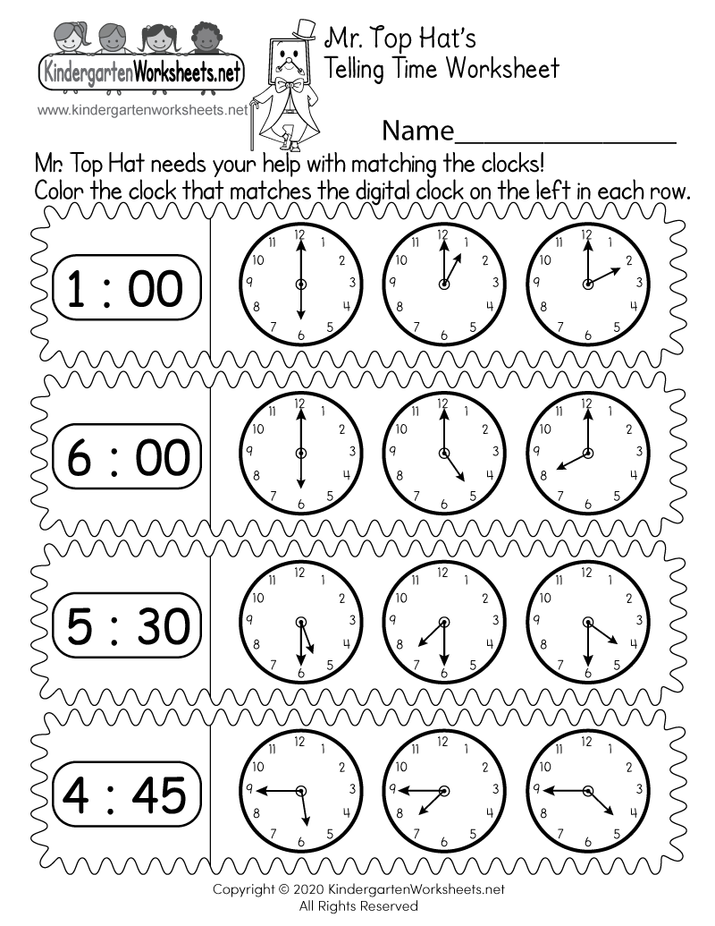 Free Printable Learn Clocks Worksheet for Kindergarten
