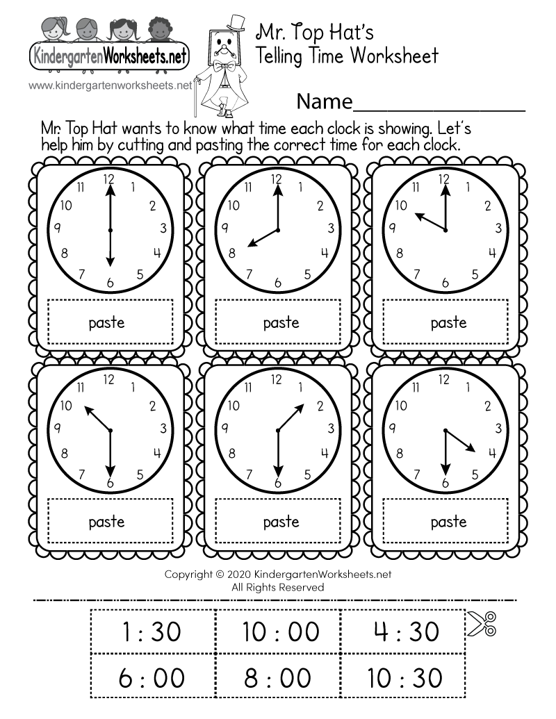 Kindergarten Cut and Paste Time Worksheet Printable
