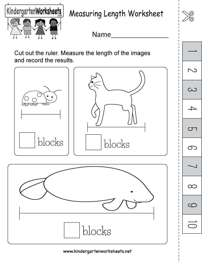 Worksheets Ruler Measurements Worksheets measuring length worksheet with an easy ruler that measures blocks kindergarten printable