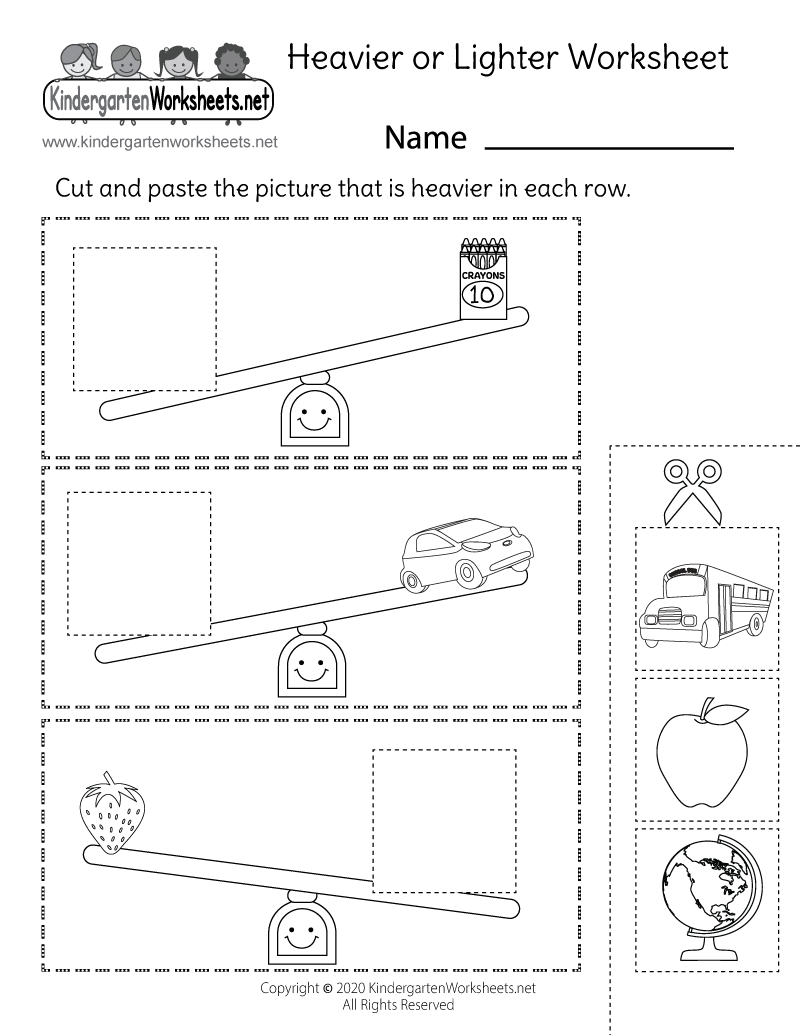 Kindergarten Heavier or Lighter Worksheet Printable