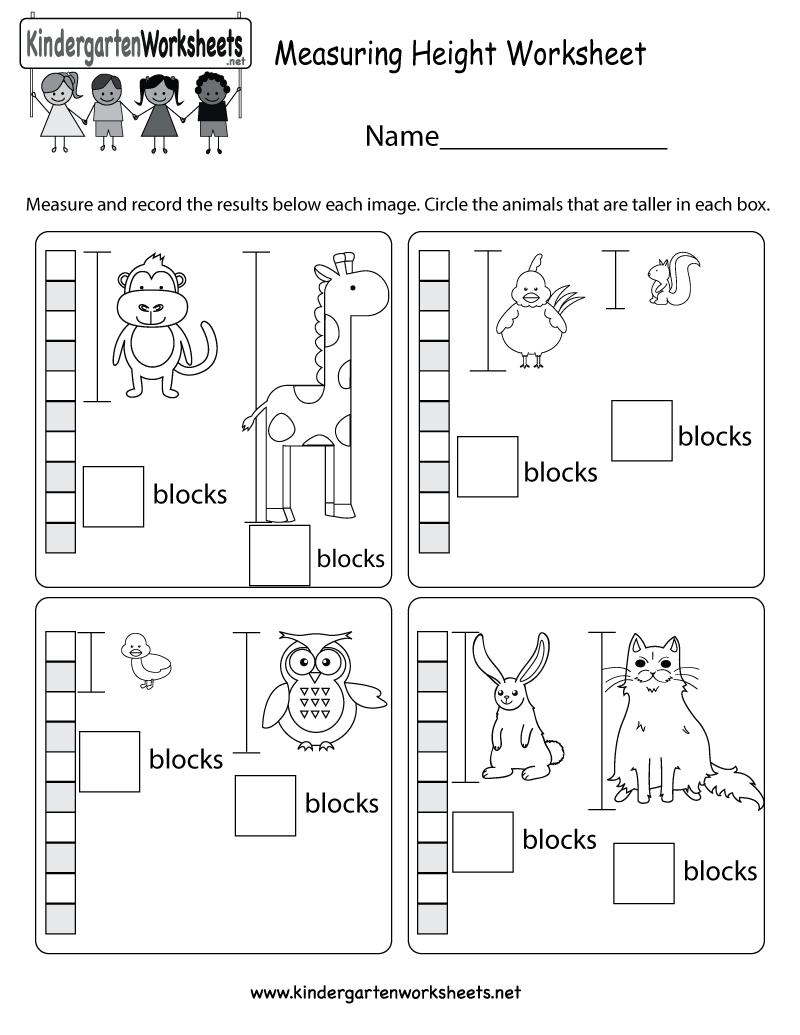 measuring height worksheet free kindergarten math worksheet for kids. Black Bedroom Furniture Sets. Home Design Ideas
