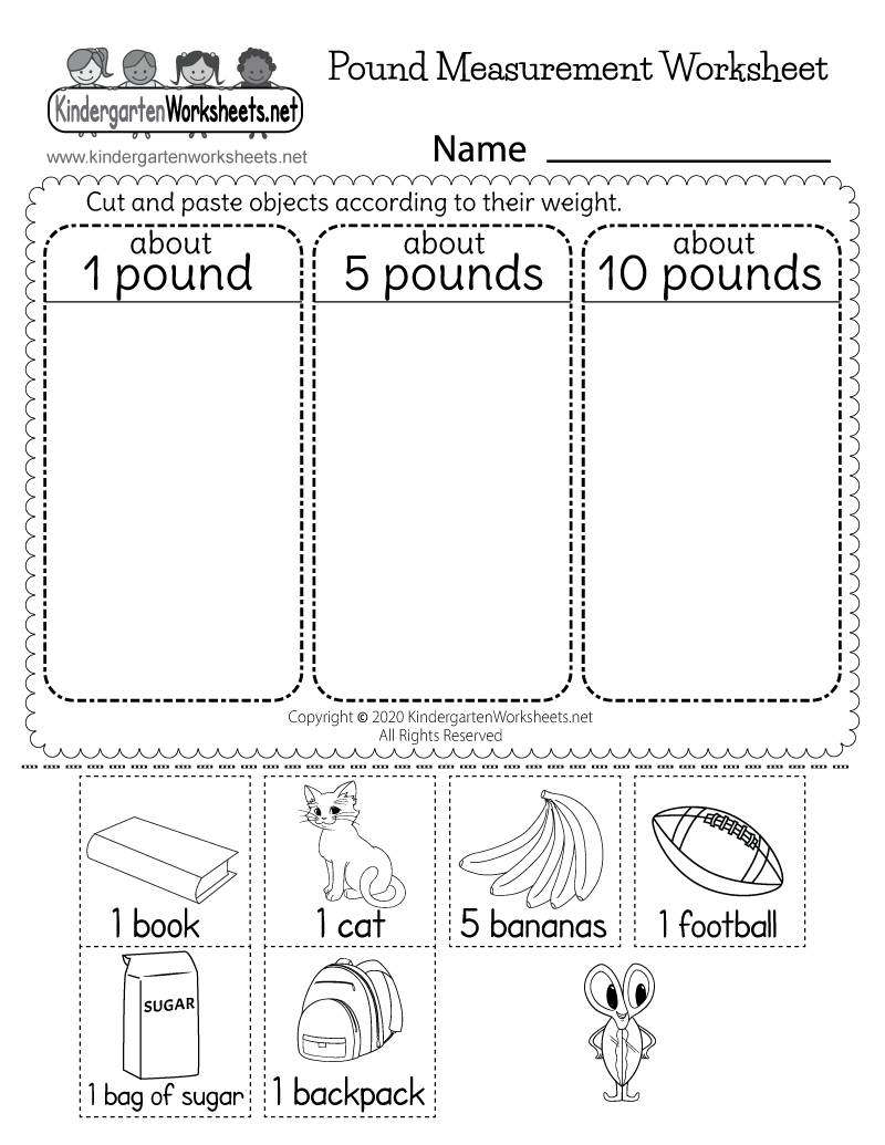 Kindergarten Pound Measurement Worksheet Printable
