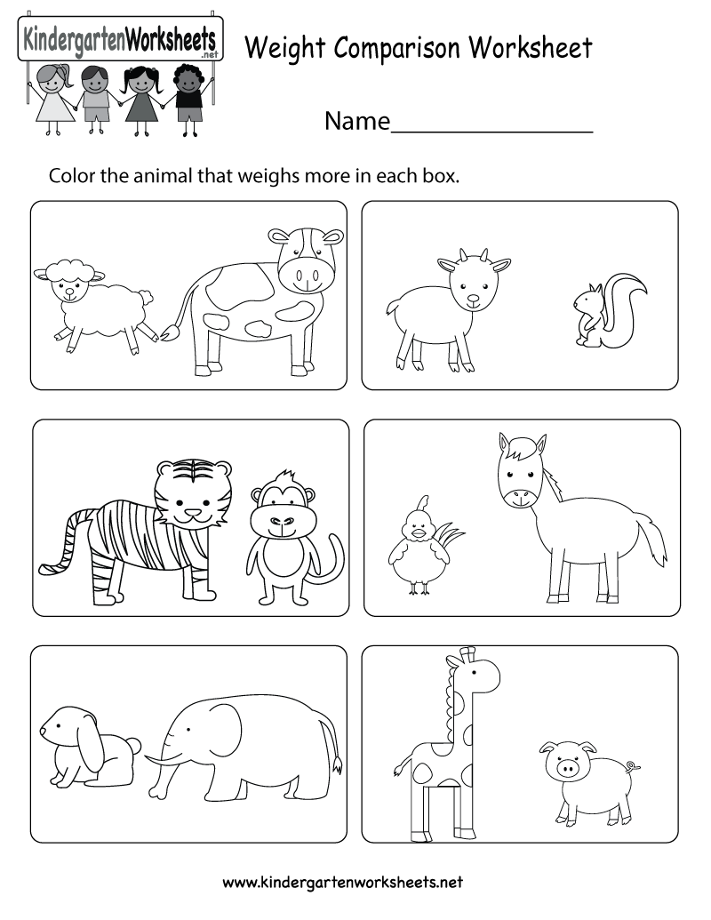 weight comparison worksheet for kindergarten. Black Bedroom Furniture Sets. Home Design Ideas